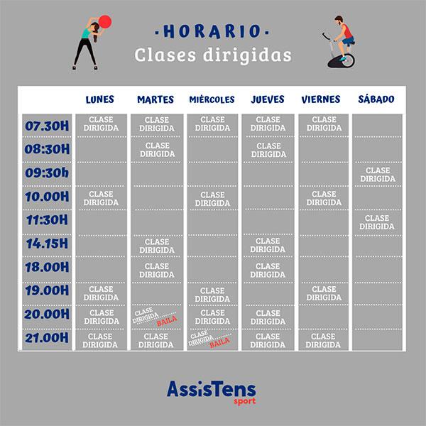 horarios clases dirigidas